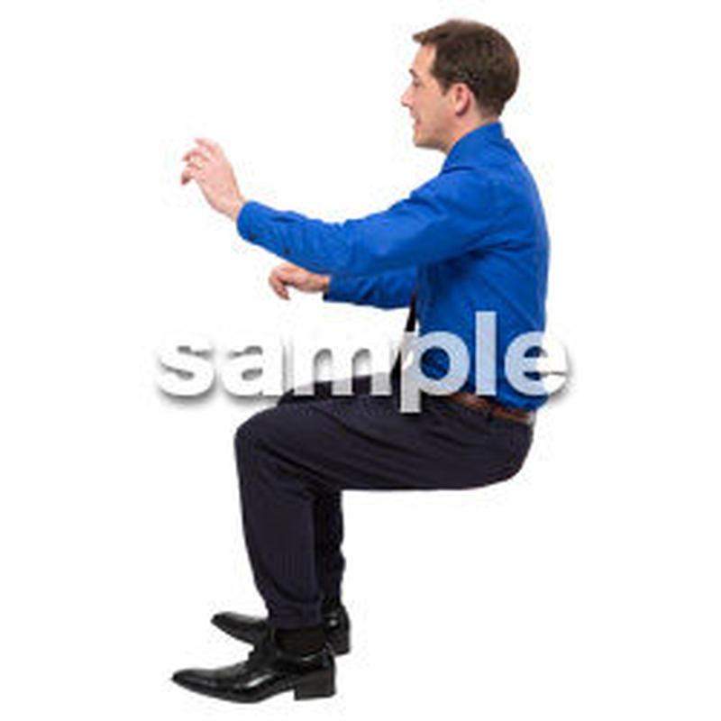 Cutout People 座る 外国人男性 LL_563