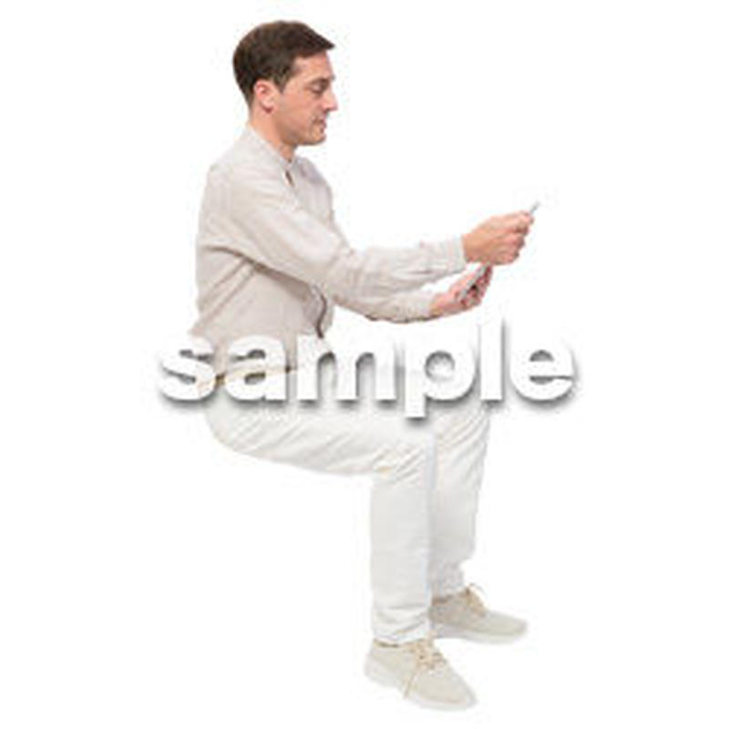 Cutout People 座る 外国人男性 LL_597