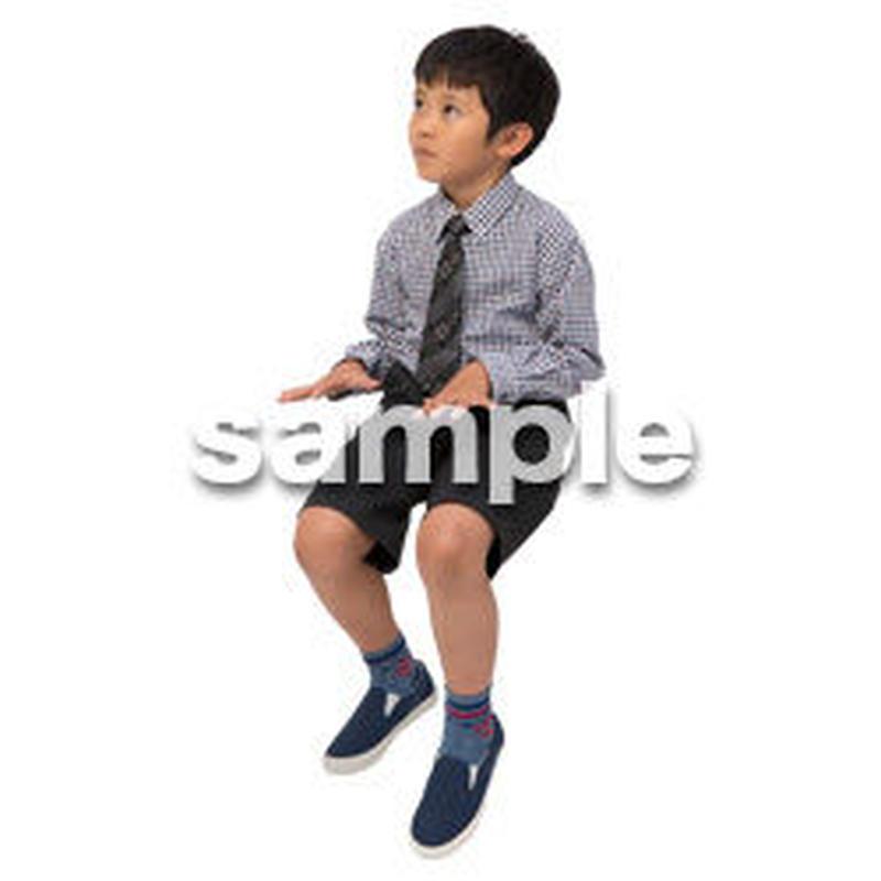 Cutout People 座る 男の子 LL_537