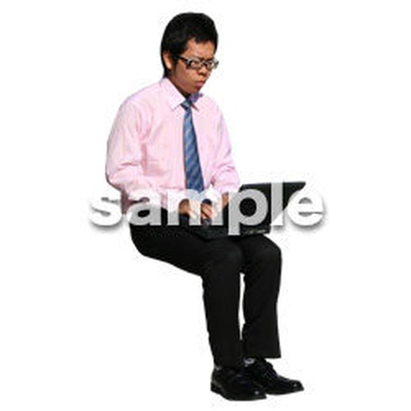 人物切抜き素材 座る人編 H_206
