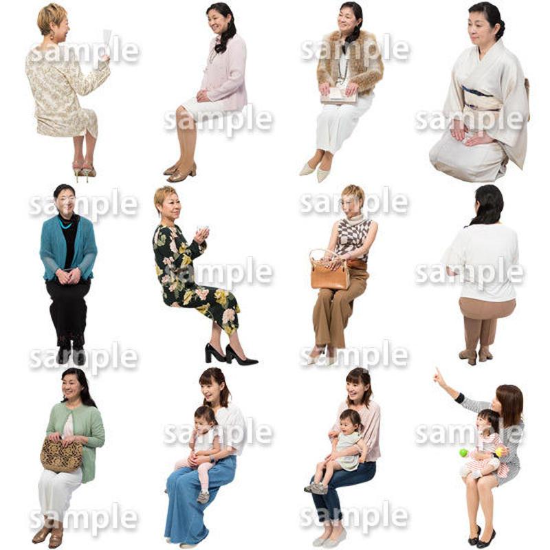 人物切抜きセット☆座る女性 1_set172