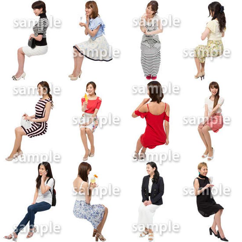 人物切抜きセット☆座る女性 1_set171