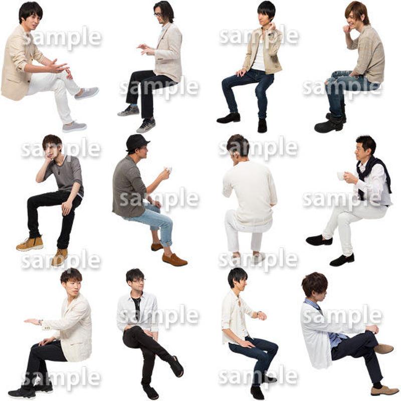 人物切抜きセット☆座る男性 1_set179