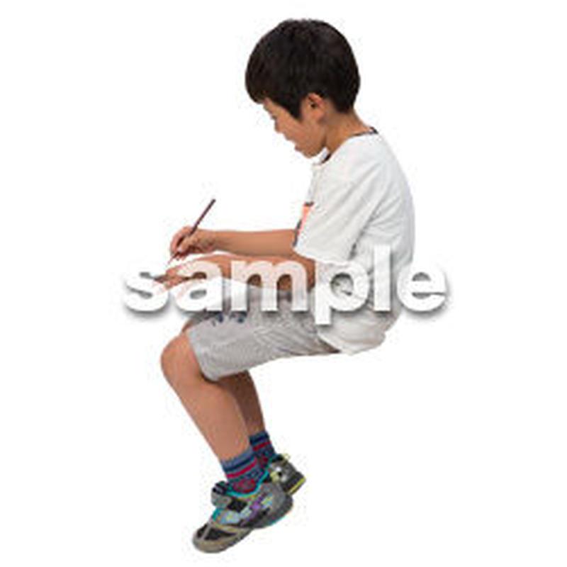 Cutout People 座る 男の子 LL_548