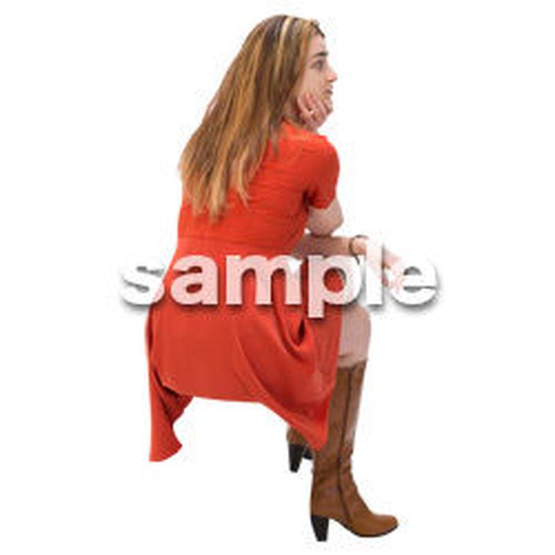 Cutout People 外国人-女性-座る BB_489