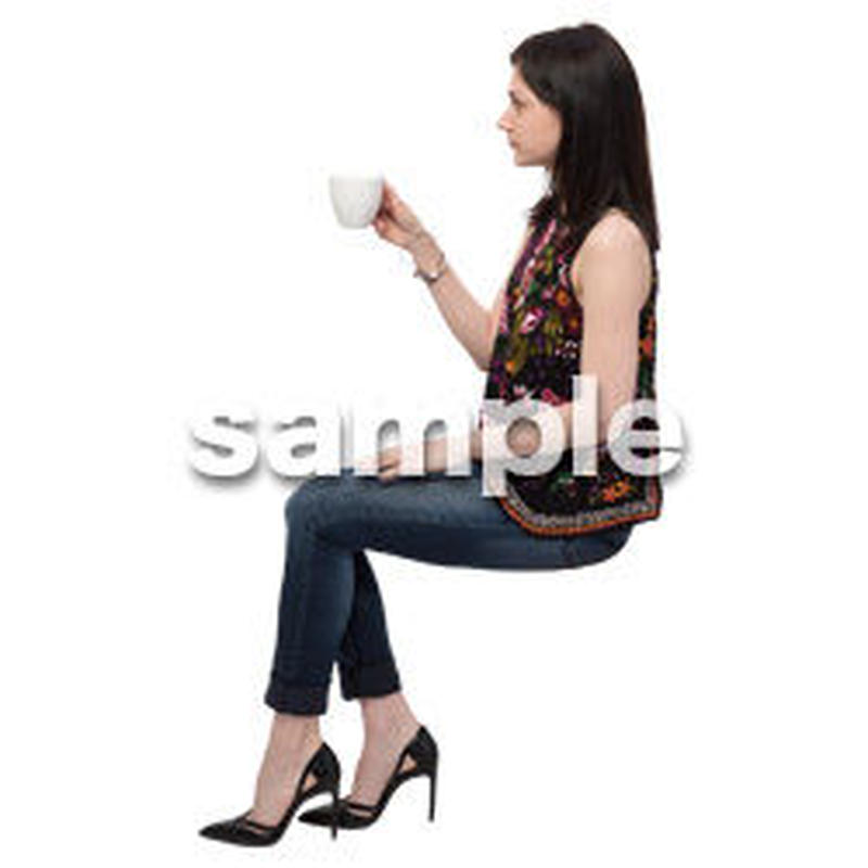 Cutout People 座る 外国人 KK_598