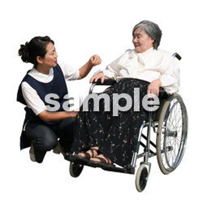 人物切抜き素材 医療・シニア車椅子編 D_298