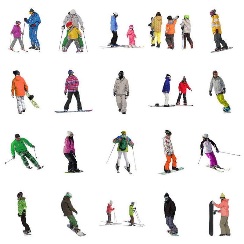 カートに入れないでください!無料!人物切抜きセット☆スキーを楽しむ人々 4ski