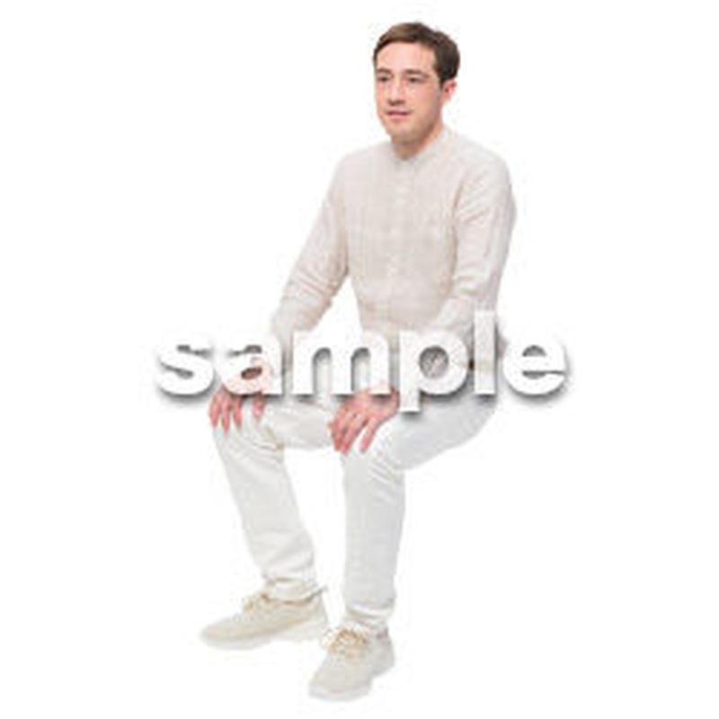 Cutout People 座る 外国人男性 LL_592