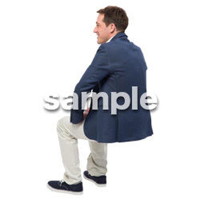 Cutout People 座る 外国人男性 LL_579