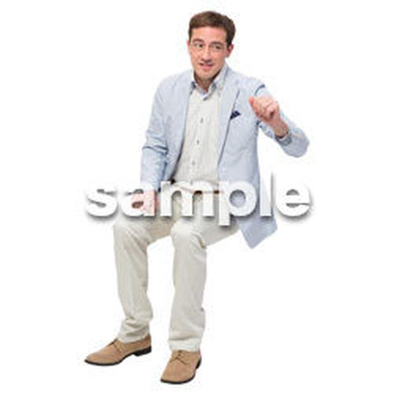 Cutout People 座る 外国人男性 LL_586