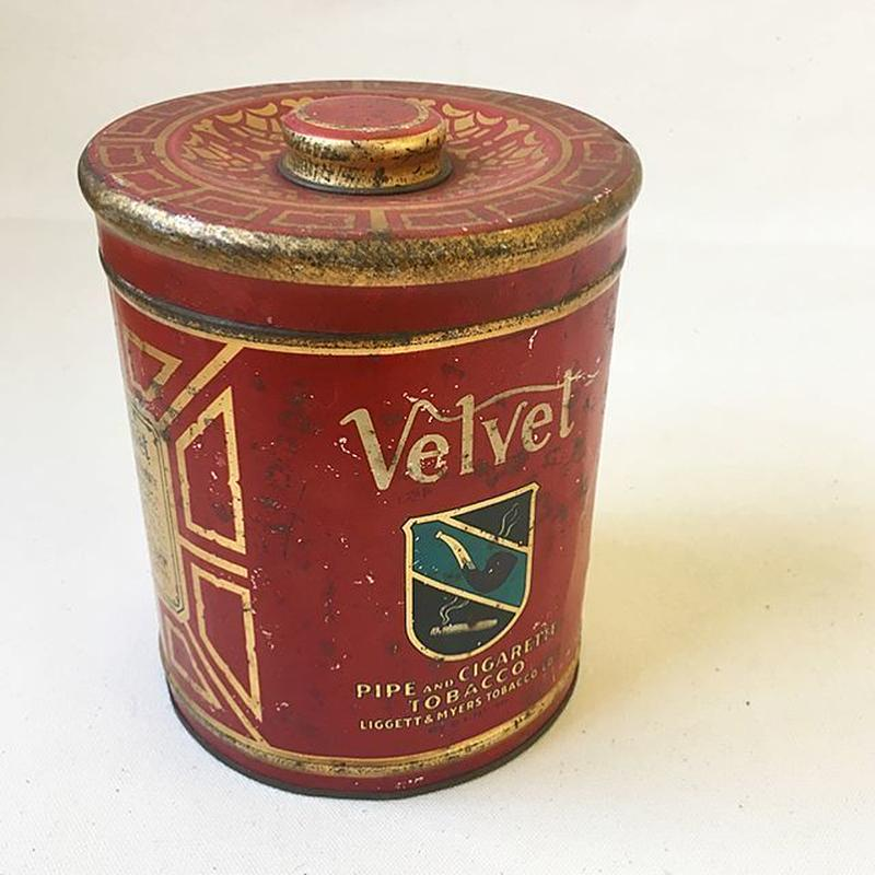"""U.S.A. Vintage """"VELVET"""" Pipe and Cigarette Tobacco Tin Can"""