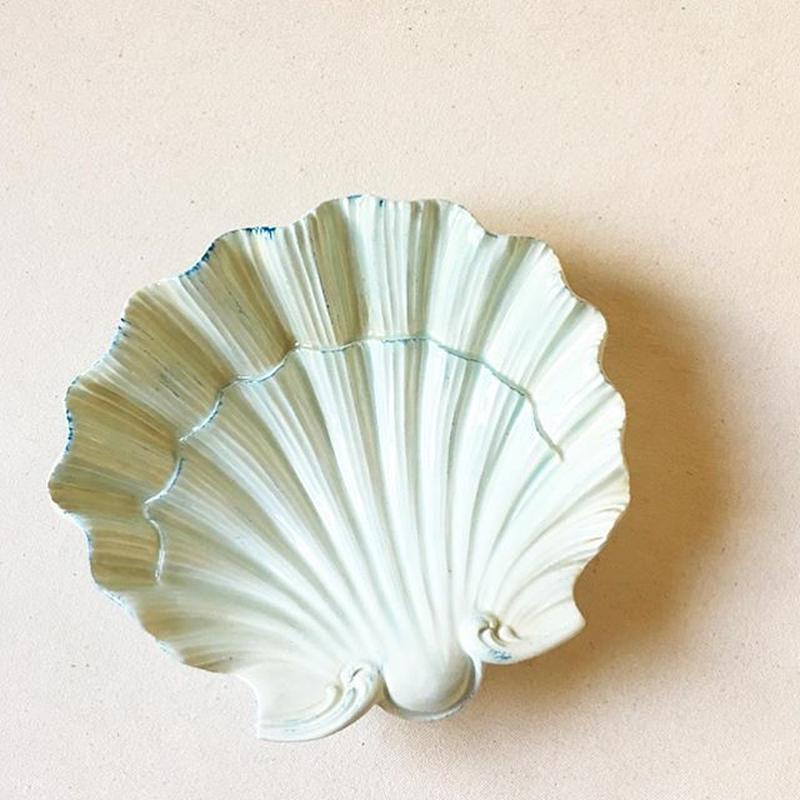 Vintage Italian Ceramic Shell Candy Dish