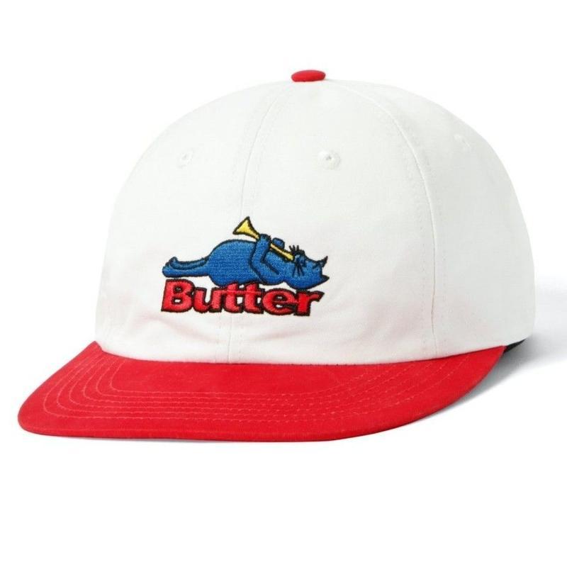 BUTTER GOODS CAT 6 PANEL CAP-NATURAL / CHERRY