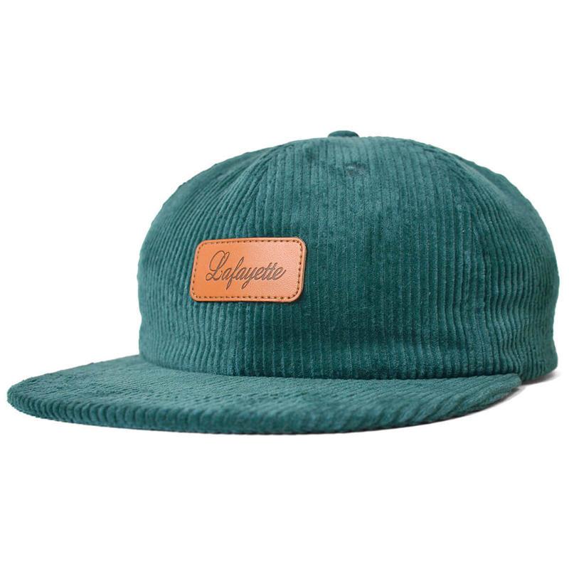 LAFAYETTE LEATHER PATCH 6 PANNEL CORDUROY CAP  D,GREEN