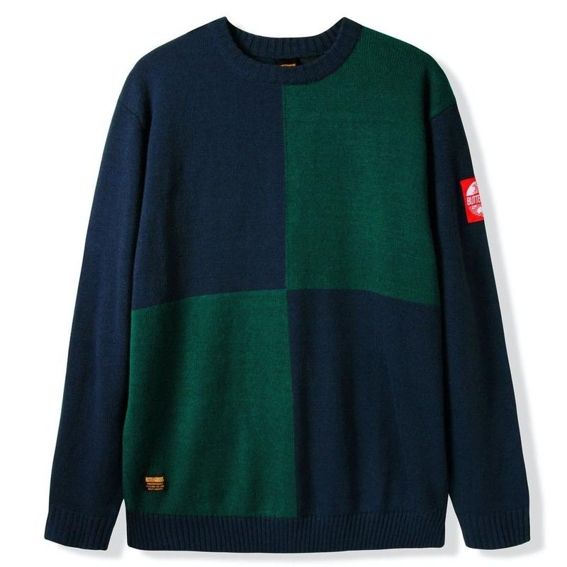 BUTTER GOODS CHESS KNITTED SWEATER, NAVY / FOREST