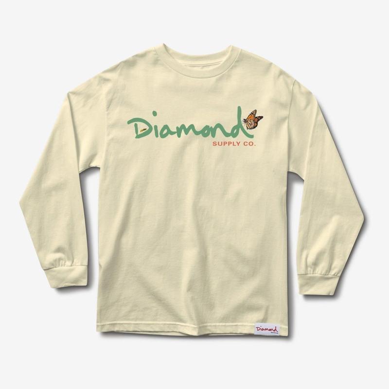 DIAMOND SUPPLY CO PARADISE OG SCRIPT L/S TEE-SAND