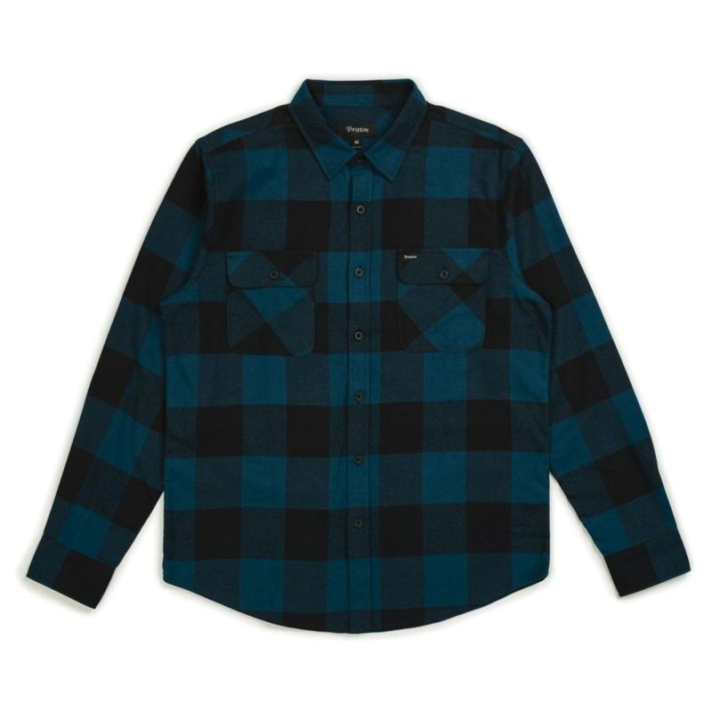 BRIXTON BOWERY FLANNEL BLACK/TEAL