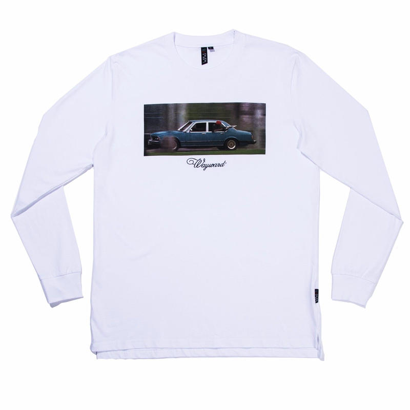 WAYWARD WHEELS BACKSEAT DRIVER L/S TEE    WHITE