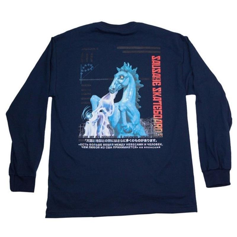 SAUSAGESKATEBOARDS  SUBPROJECT 8  L/S TEE   NAVY