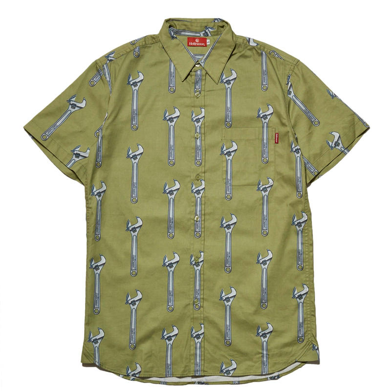 HELLRAZOR WRENCH BUTTON SHIRT-KHAKI