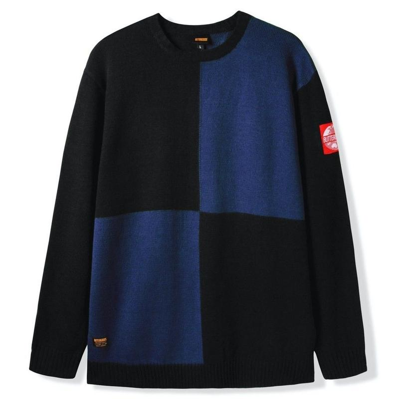 BUTTER GOODS CHESS KNITTED SWEATER-BLACK / BLUE