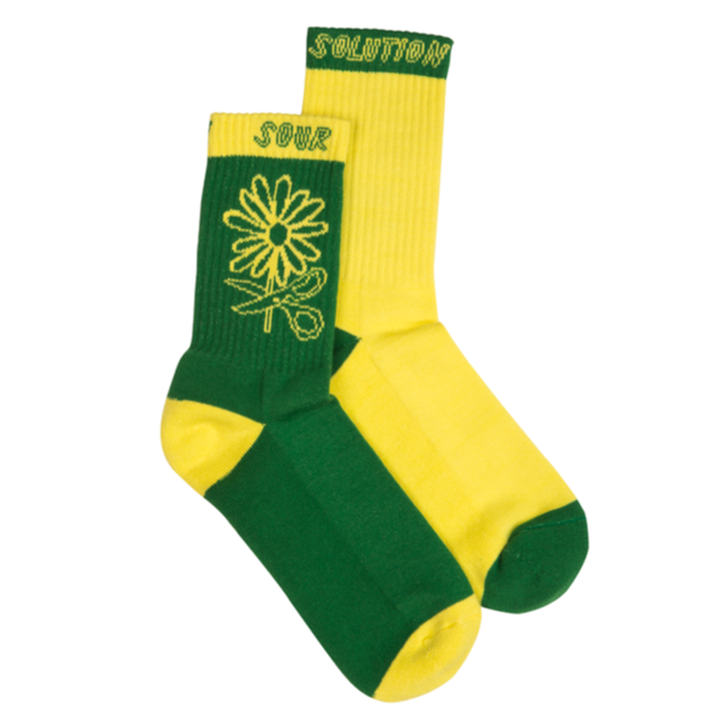 SOUR SOLUTION   FLORETA SOCKS-YELLOW/GREEN