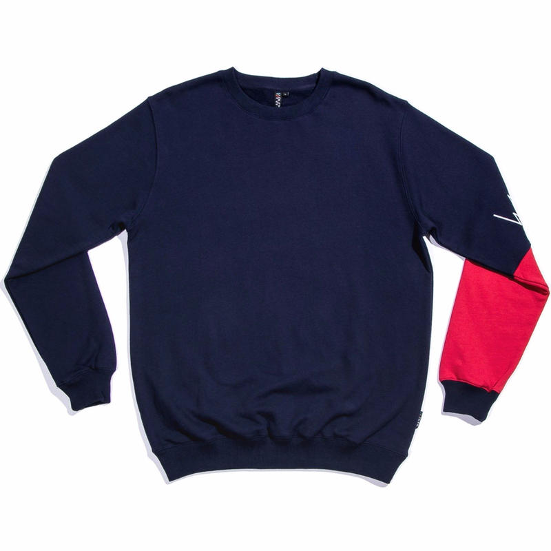 WAYWARD WHEELS BASQUE PULLOVER CREWNECK   NAVY