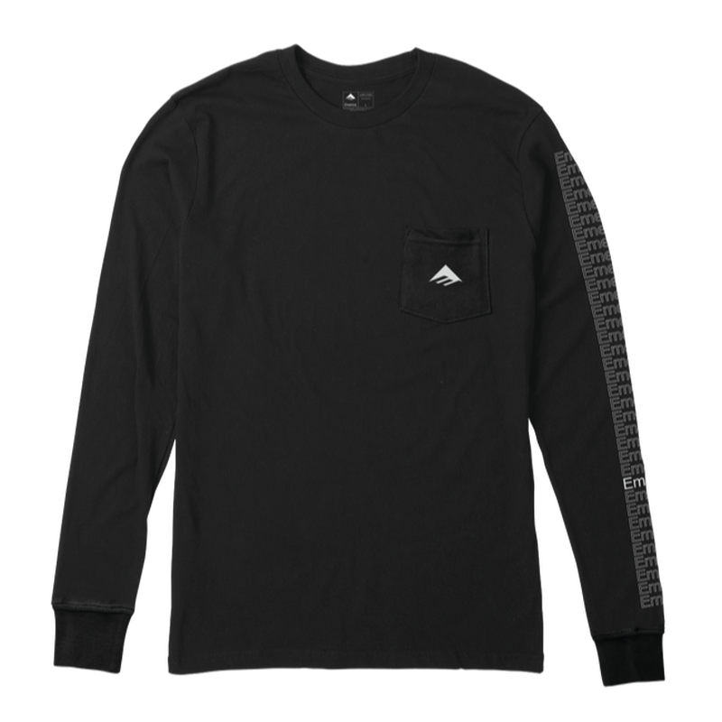EMERICA TEAM POCKET L/S TEE  BLACK