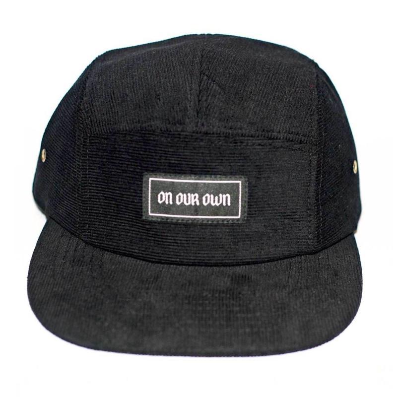 ON OUR OWN CORDUROY 5 PANEL CAP   BLACK