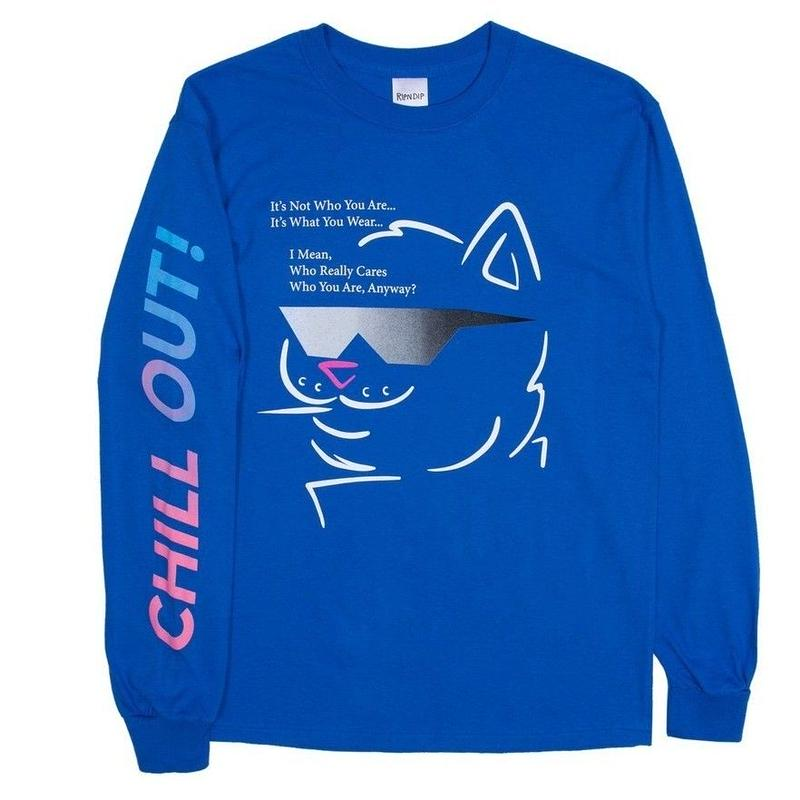 RIPNDIP CHILL OUT L/S TEE-R,BLUE