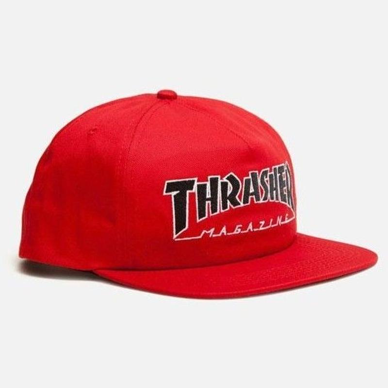 THRASHER     OUTLINED SNAPBACK HAT   RED