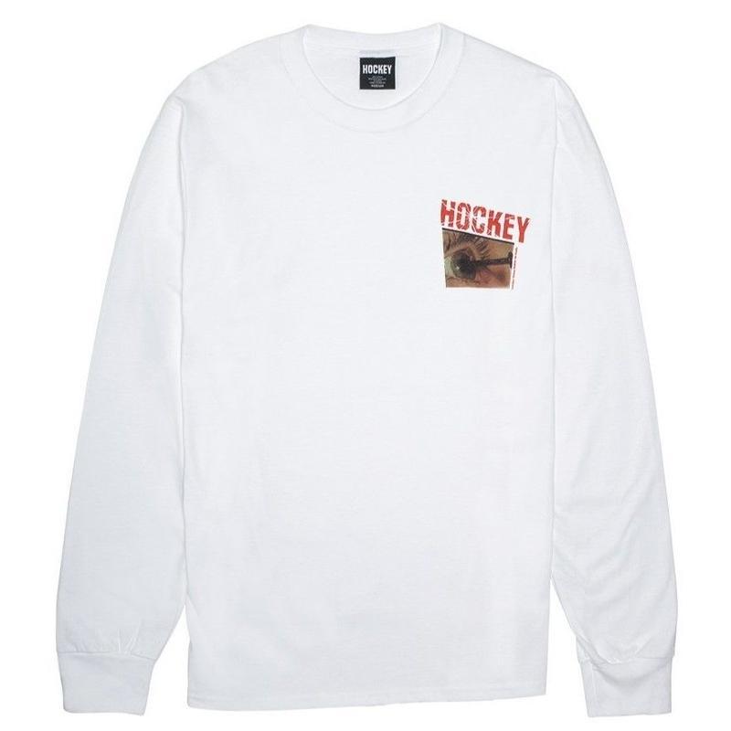 HOCKEY NAIL L/S TEE-WHITE