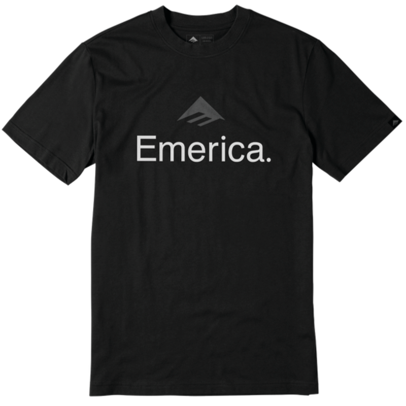 EMERICA SKATEBOARD LOGO TEE  BLACK