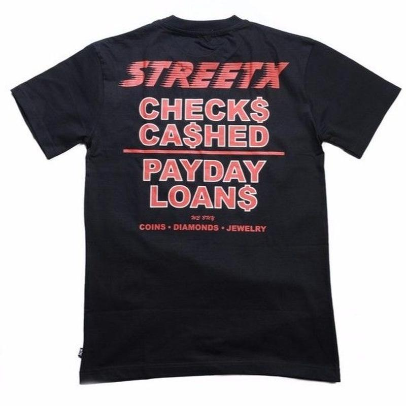 STREETX  CHEQUES CASHED TEE     BLACK
