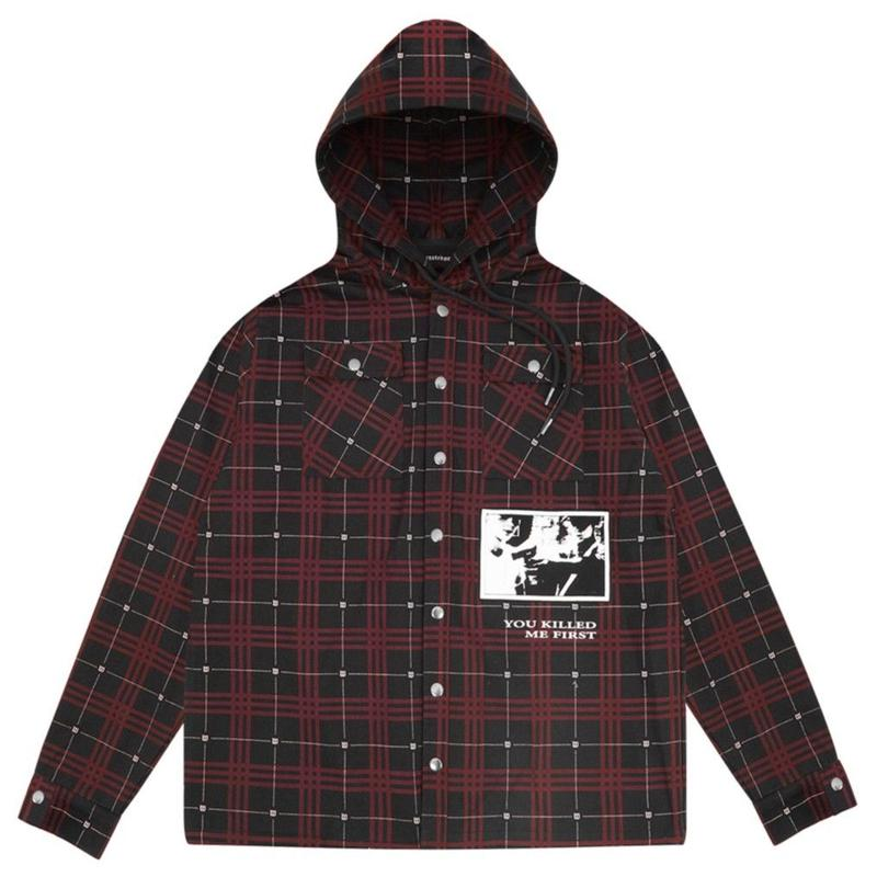 WASTED PARIS TARTAN HOOD JACKET-BLACK/RED