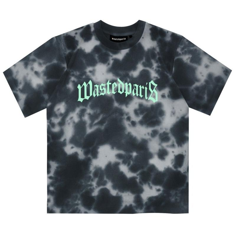WASTED PARIS MARBLE DYE BLACK TEE-BLACK