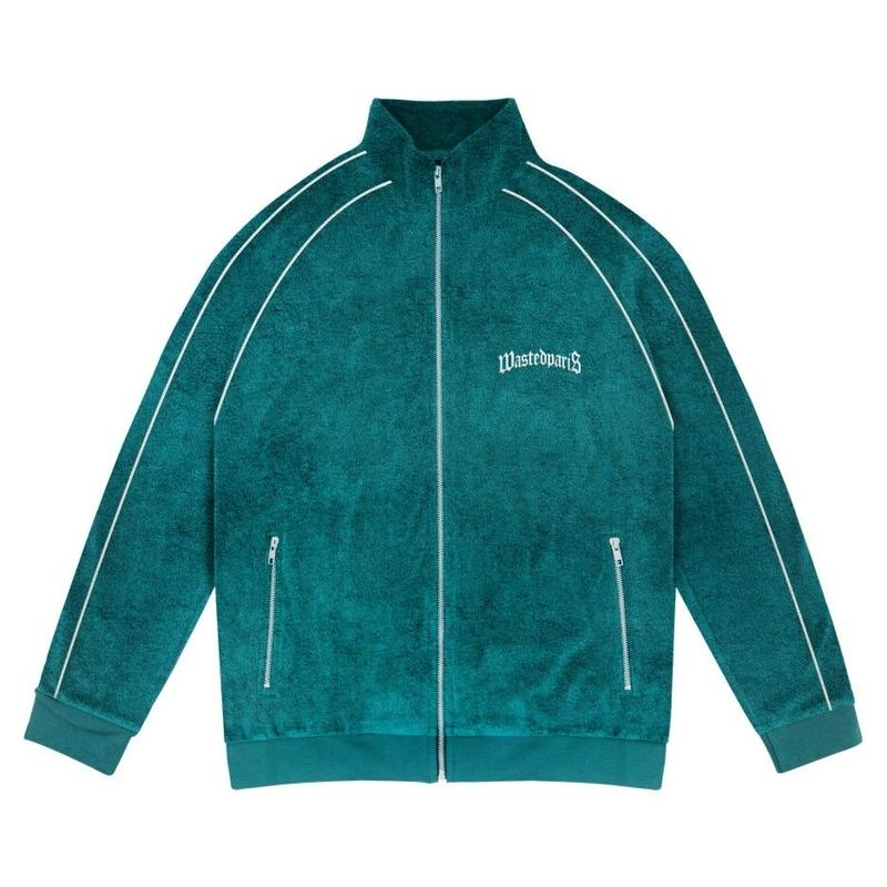 WASTED PARIS GREEN EMERALD TERRY BRIDGE TRACK JACKET