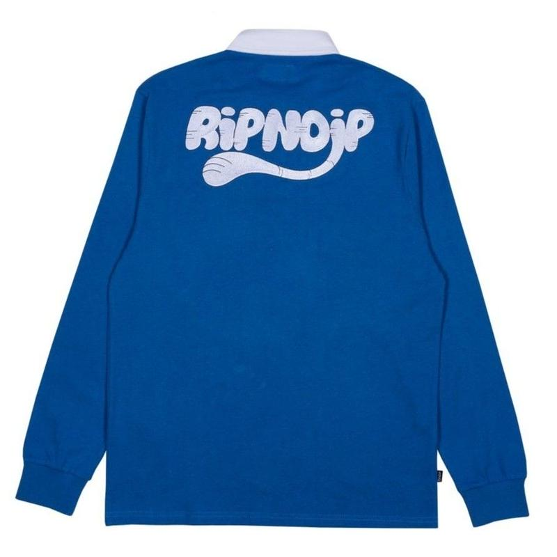 RIPNDIP RIPNTAIL RUGBY POLO L/S TEE-NAVY