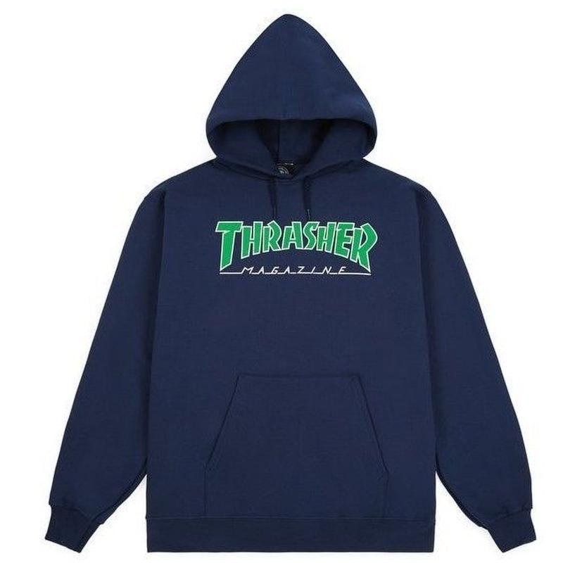 THRASHER OUTLINE HOOD-NAVY