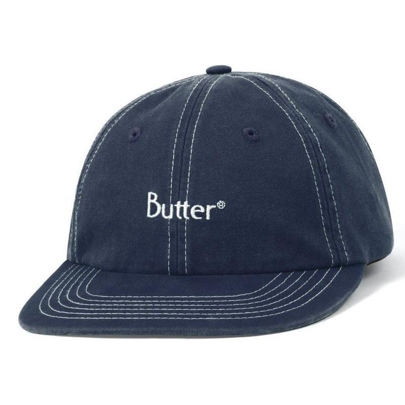BUTTER GOODS STITCH 6 PANEL CAP-NAVY