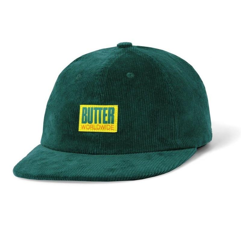 BUTTER GOODS THOMAS CORDUROY 6 PANEL CAP- JADE