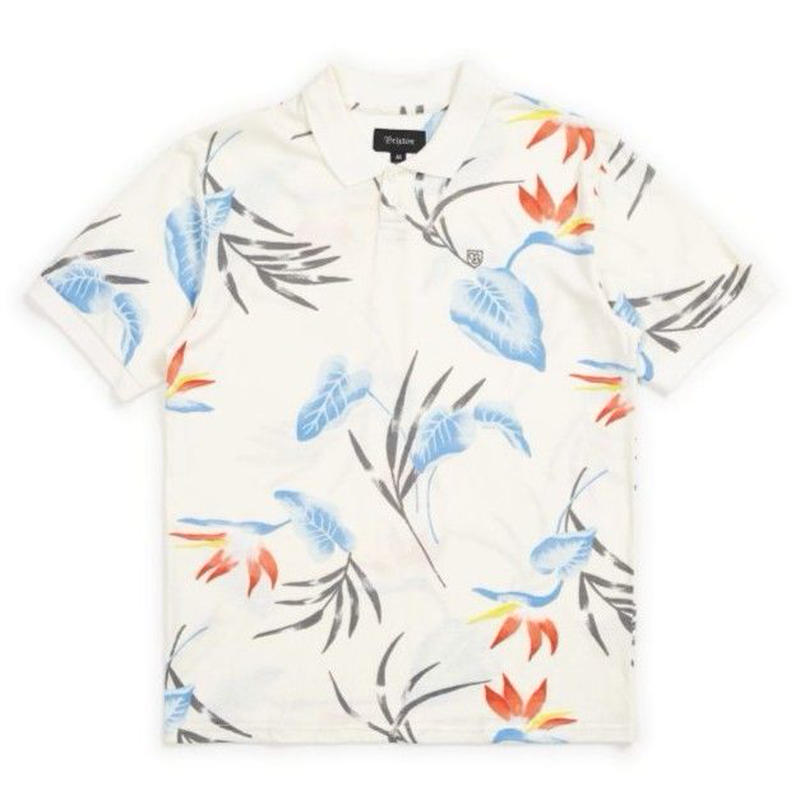 BRIXTON WALES S/S POLO-OFF-WHITE-BLUE