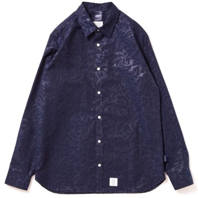 【APPLEBUM】Botanical Emboss Shirt [Navy]