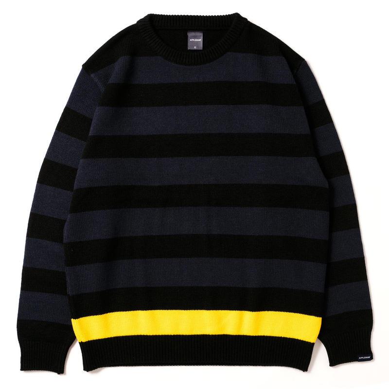 【APPLEBUM】Border Crew Sweater [Navy/Black]
