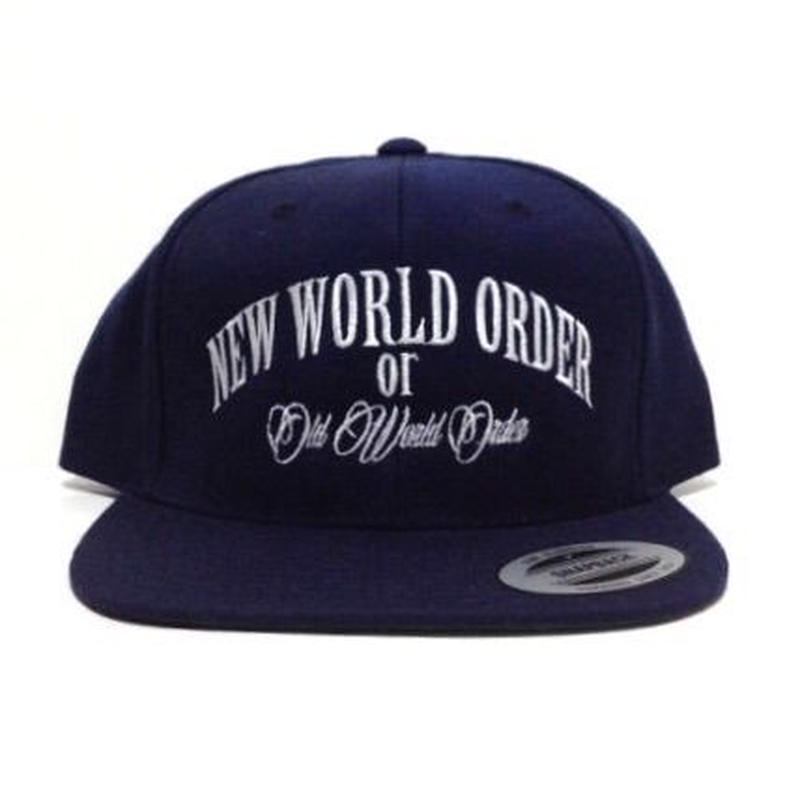 "SNAPBACK CAP ""NEW WORLD ORDER"" (NAVY×WHT)"
