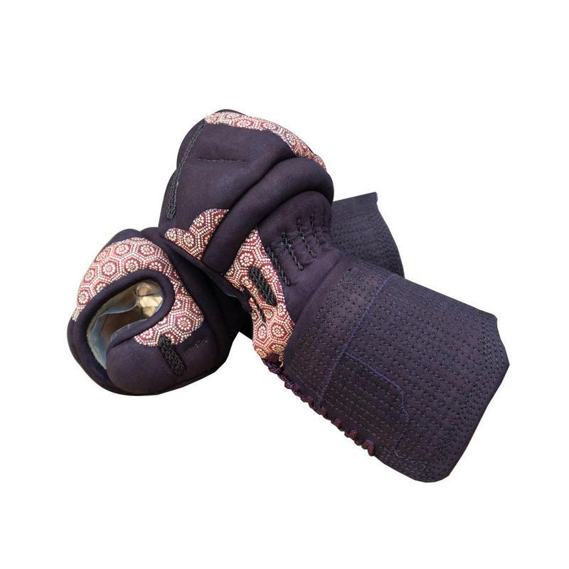印伝革付総紺鹿革甲手[亀甲赤⑥]   Lサイズ