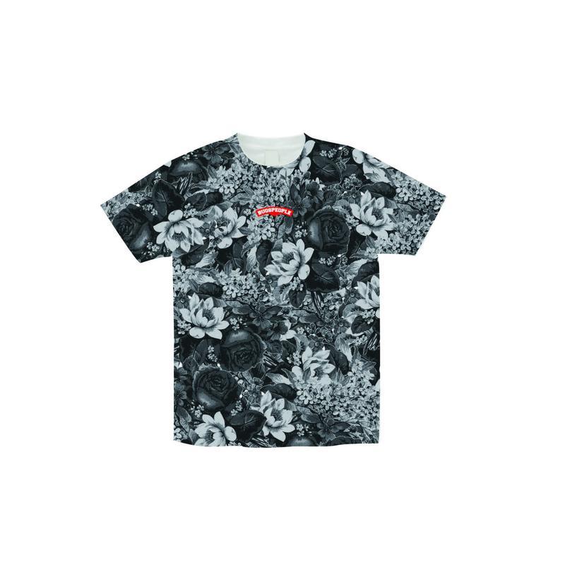 白黒花柄総柄Tシャツ