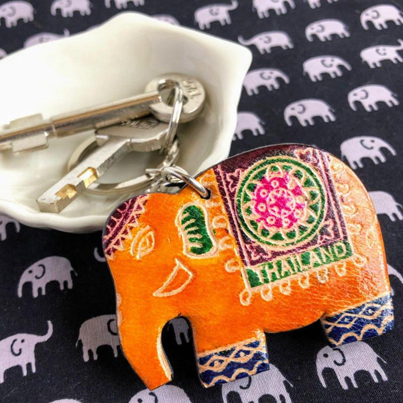 象 革製キーホルダー