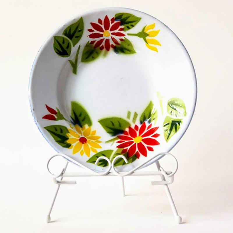 ホーロー製 花柄プレート 18cm TD-HO1FL-MD